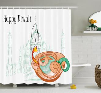 Sketchy Diwali Festive Shower Curtain