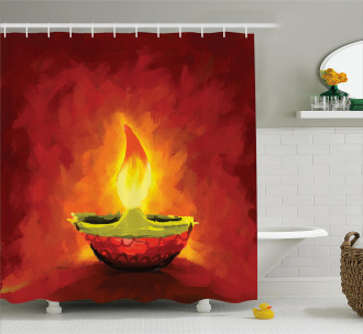 Oil Painting Candle Shower Curtain