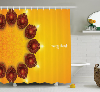 Religious Festive Candle Shower Curtain