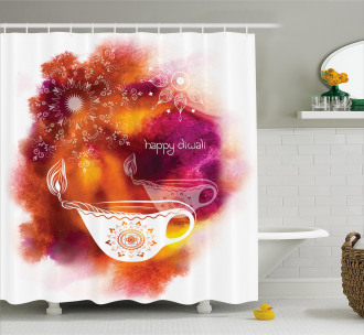 Brushstroke Festive Candle Shower Curtain
