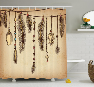 Bohemian Feathers Shower Curtain