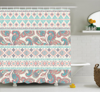 Floral Paisley and Aztec Shower Curtain