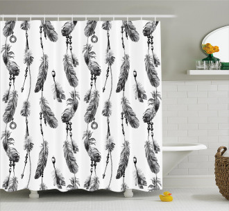 Black White Boho Feather Shower Curtain