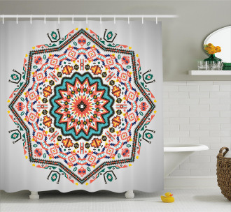 Abstract Sun Aztec Style Shower Curtain