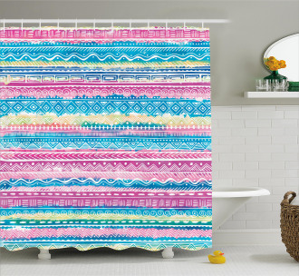 Watercolor Aztec Stripes Shower Curtain