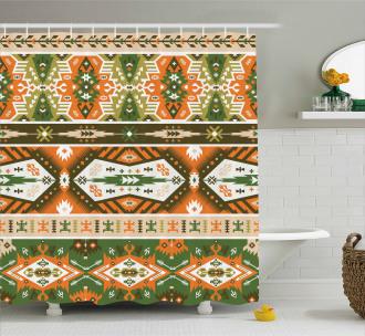 Aztec Mayan Style Stripe Shower Curtain