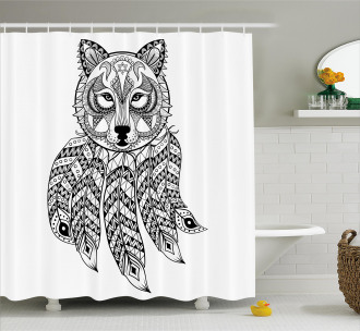 Native America Wolf Head Shower Curtain