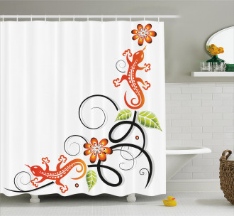 Baby Lizard and Flower Shower Curtain