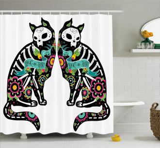 Skeleton Cats Skull Shower Curtain