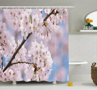 Floral Cherry Branches Shower Curtain