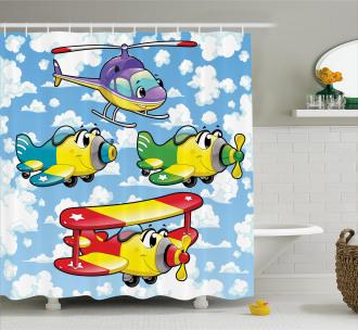 Kids Cute Airplanes Sky Shower Curtain