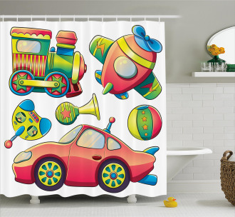 Balls Auto Tire Cartoon Shower Curtain