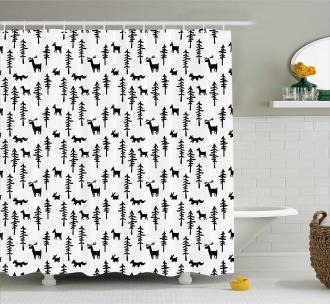 Pine Trees Rabbit Animal Shower Curtain