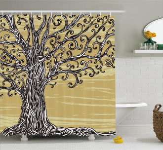 Nature Eco Sketchy Shower Curtain