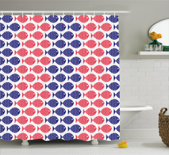 Nautical Fish Theme Design Shower Curtain