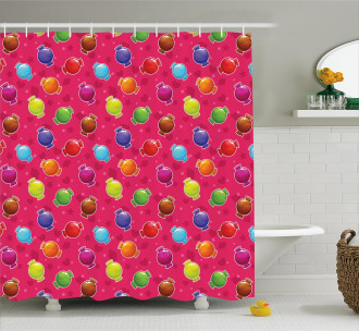 lllustration of Candy Shower Curtain