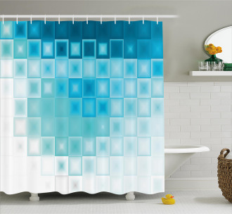 Fractal Square Shapes Shower Curtain