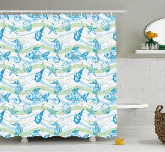 Ocean Shell Starfish Shower Curtain