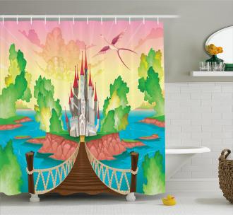 Wooden Bridge and Bird Shower Curtain