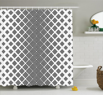 Square Shape Geometric Shower Curtain