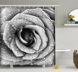 Retro Romance Rose Petal Shower Curtain