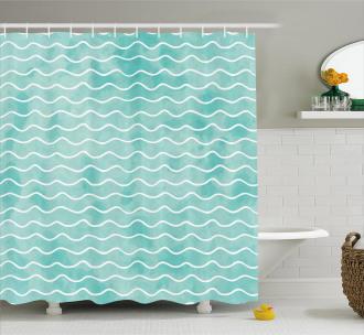 Ocean Sea Wave Pattern Shower Curtain