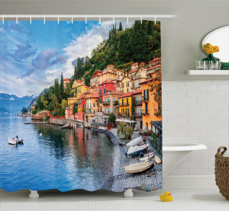 Yacht Boat Idyllic Town Shower Curtain