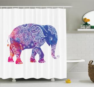 Ethnic Elephant Figure Shower Curtain