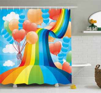 Rainbow Romantic Hearts Shower Curtain