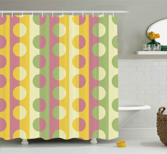 Retro Geometric Stripe Shower Curtain