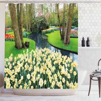 Flower Garden Grass Park Shower Curtain