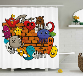 Cartoon Cat Bird Skull Shower Curtain