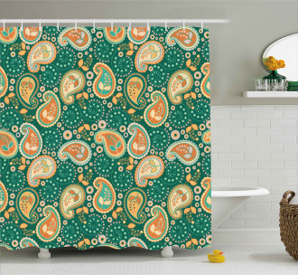 Folkloric Paisley Flowers Shower Curtain