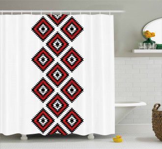 Zig Zag Aztec Motif Shower Curtain