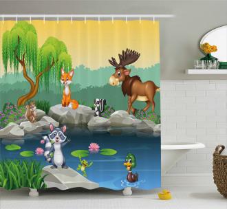 Funny Mascot Animals Shower Curtain