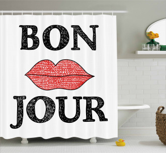 Vintage Bon Jour Quote Shower Curtain