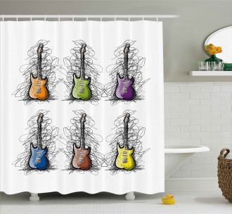 Guitar Collage for Teens Shower Curtain