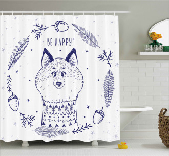 Fox with Hearts and Beam Shower Curtain