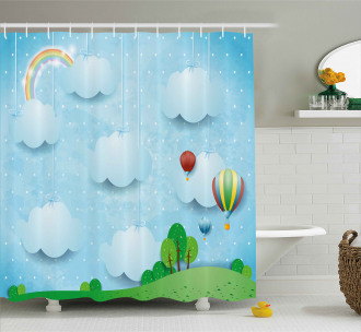 Balloons Clouds Stars Hill Shower Curtain