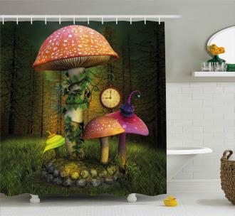 Giant Mushroom and Elve Shower Curtain