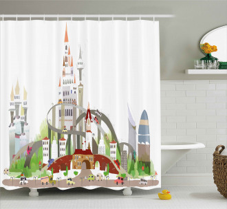 Mega City Urban Scenery Shower Curtain