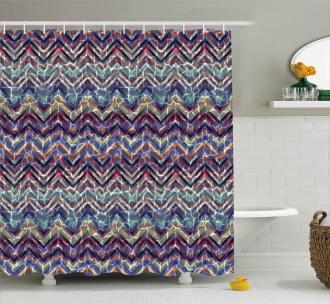 Abstract ZigZag Chevron Shower Curtain