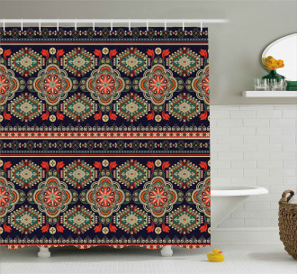 Floral Geometric Shapes Shower Curtain