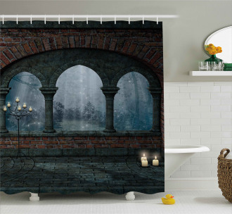 Medieval Castle at Night Shower Curtain