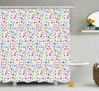 Bubble Letters Doodle Fun Shower Curtain