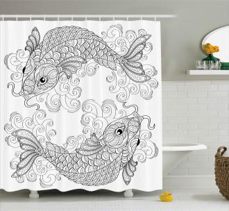 Ethnic Koi Fish Pattern Shower Curtain