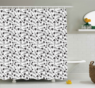 Funny Fish Bone Abstract Shower Curtain