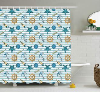 Anchor Wheel Starfish Shower Curtain