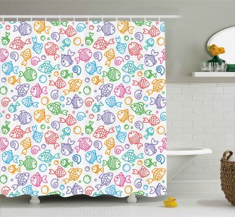 Funny Fish Aquaic Motif Shower Curtain