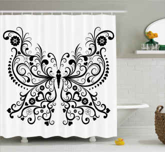 Swirled Wing with Flower Shower Curtain
